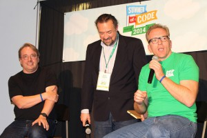 Linus Torvalds, Chris DiBona, Dirk Hohndel on stage at GSoC 2014 celebrations