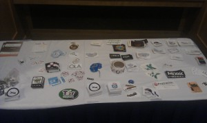 GSoC sticker exchange - always fun. Can you spot the enviroCar and 52°North stickers? They were quickly gone :-)