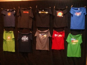 T-Shirt wall with 10 years of mentor T-Shirst (courtesy of Chandan Singh - http://chandansingh.net/blog/gsoc-reunion-summit-2014-my-point)