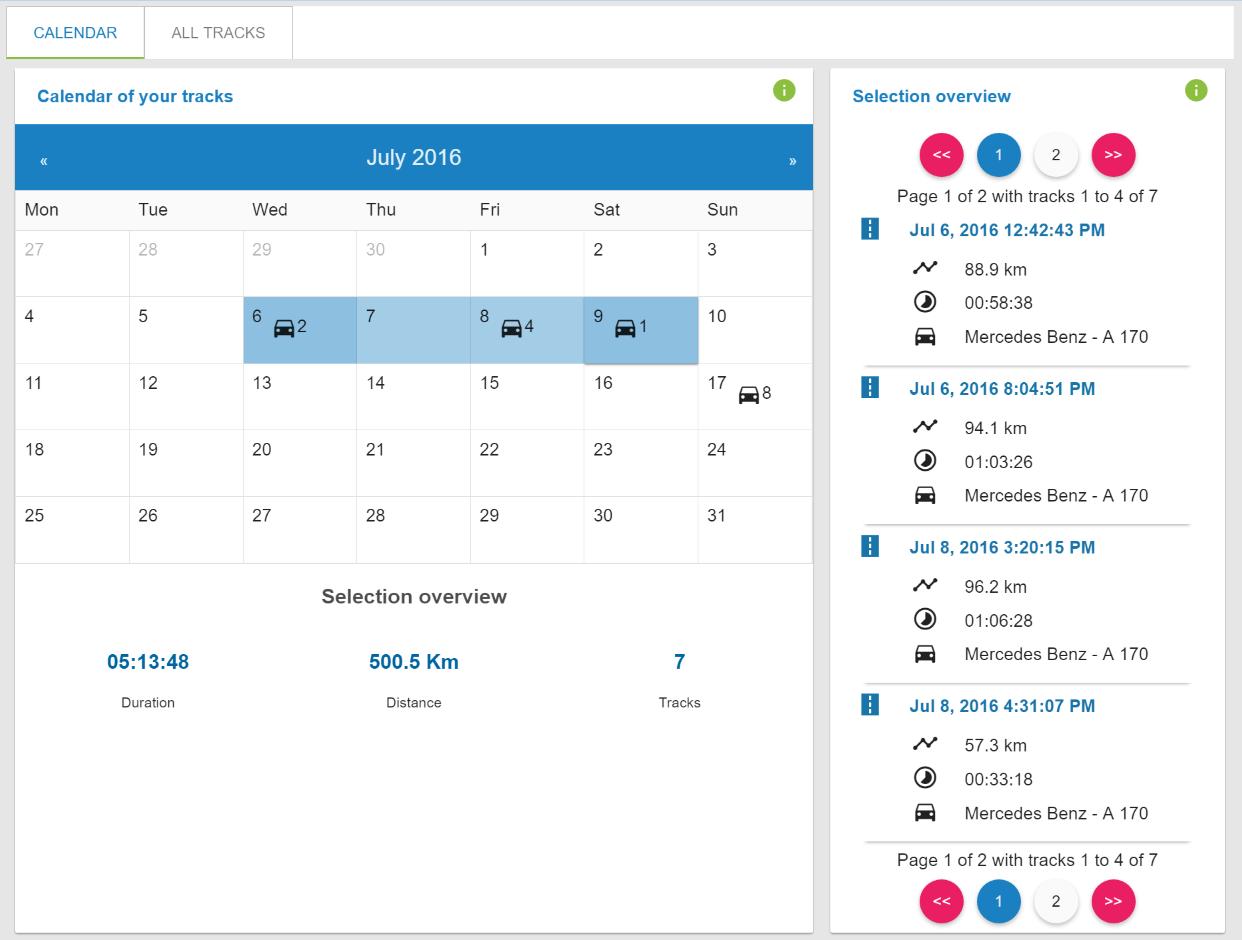 enviroCar calendar view