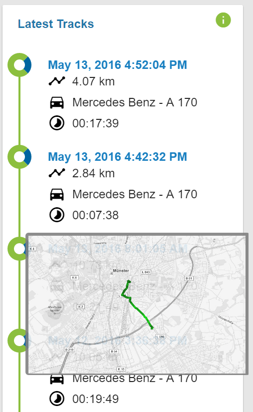 enviroCar latest tracks card