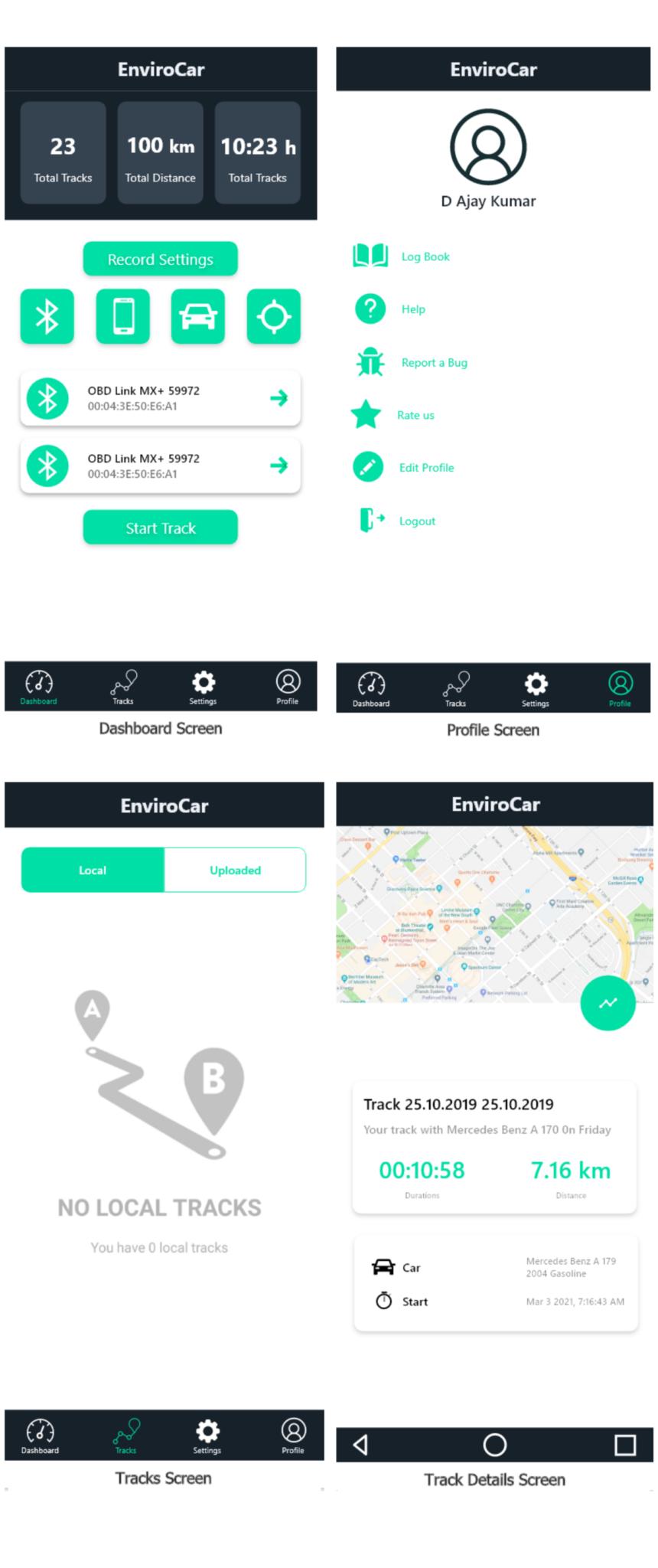 enviroCar app - proposaed design